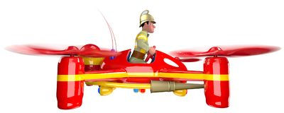Firefighter. In uniform and in a helmet flying on a red quadcopter. 3D illustration Royalty Free Stock Photography