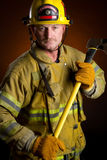 Firefighter Fireman. Heroic firefighter fireman wearing turnouts Stock Photos