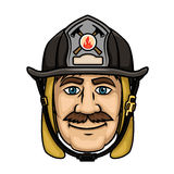 Firefighter or fireman in protective helmet. Brave firefighter in cartoon style with smiling mustached fireman in protective hood and black helmet with Royalty Free Stock Images