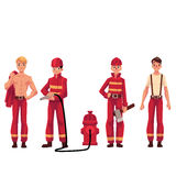 Firefighter, fireman in red protective suit with axe, fire hose. Set of firefighters in red uniform, protective suit with axe, fire hose, naked torso, cartoon Stock Images