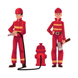 Firefighter, fireman in red protective suit holding fire hose, axe Stock Images