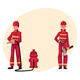 Firefighter, fireman in red protective suit holding fire hose, axe. Firefighter, fireman in red protective suit holding fire hose and axe, cartoon vector Stock Images