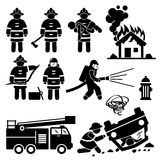 Firefighter Fireman Rescue Cliparts. Human pictogram showing firemen on duty during fire, invasion of wild animal such as snake, and car accident Stock Photo
