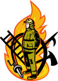 Firefighter fireman standing fire. Illustration of a Firefighter with axe ladder, spear, hook and fire hose Stock Photography