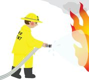 The Firefighter. A fireman stands before a fire with Royalty Free Stock Images