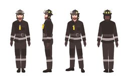 Firefighter or fireman wearing protective clothes or uniform and helmet isolated on white background. Male cartoon. Character. Front, back and side views Royalty Free Stock Photo