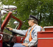 Firefighter and firetruck stock images