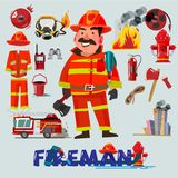 Firefighter with and first help equipment. character design. Fir. E truck and tools - vector illustration royalty free stock photography