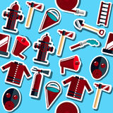 Firefighter flat collage. Color vector collage with firefighter equipment. Flat icon background. Helmet, helm, ax, hatchet, axe and other Stock Photos
