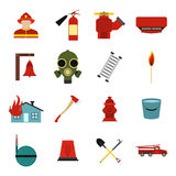Firefighter flat icons set. For web and mobile devices Royalty Free Stock Photos