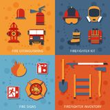 Firefighter Flat Set. Firefighter design concept set with fire extinguishing inventory signs flat icons isolated vector illustration Royalty Free Stock Image