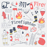 Firefighter Freehand Doodle. Fireman with extinguisher and Equipment Hand Drawn Elements Set Stock Photo
