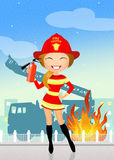 Firefighter girl Royalty Free Stock Photo