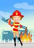 Firefighter girl. Funny illustration of firefighter girl Royalty Free Stock Photo