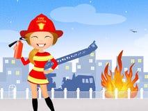 Firefighter girl. Funny illustration of firefighter girl Stock Image