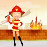 Firefighter girl. Funny illustration of firefighter girl Stock Images