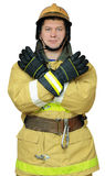 Firefighter gives gesture CLOSE Stock Images
