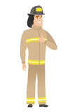Firefighter giving thumb up vector illustration. Stock Images