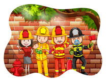 Firefighter. Group of firefighter with one person holding a boy Stock Photos