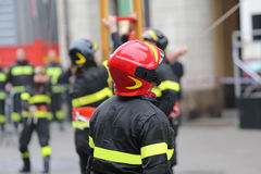 Firefighter with hardhat during outdoor exercise Royalty Free Stock Photo