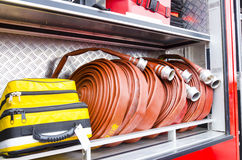 Firefighter heavy duty equipment Stock Image
