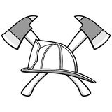 Firefighter Helmet and Axes Illustration Royalty Free Stock Image