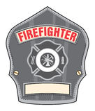 Firefighter Helmet Badge. Illustration of a black leather firefighter helmet or fireman hat badge with cross and firefighter tools logo Royalty Free Stock Photo