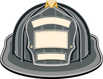 Firefighter Helmet Black. Illustration of black firefighter helmet or fireman hat from the front Royalty Free Stock Photo