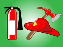 Firefighter helmet with crossed axe and Fire extinguisher. On green background. Vector illustration Royalty Free Stock Photos
