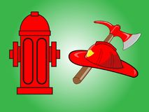 Firefighter helmet with crossed axe and Red fire hydrant. Isolated on green background Stock Photos