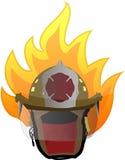 Firefighter helmet on fire illustration design. On white Stock Photo