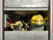 Firefighter Helmet and Gear, Rutherford, NJ, USA Royalty Free Stock Images