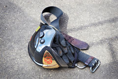 Firefighter Helmet, gloves and belt Stock Photo