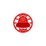 Firefighter helmet  logo Stock Photos