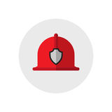 Firefighter helmet. Single silhouette fire equipment icon. Vector illustration. Flat style. Stock Photography