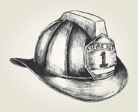 Firefighter Helmet. Sketch illustration of a firefighter helmet Stock Image
