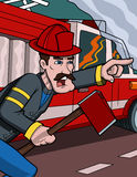 Firefighter Help. This is an illustration of a firefighter helping to douse a blaze Stock Photography