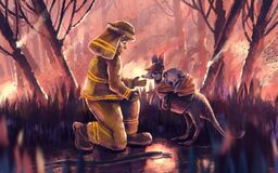 Firefighter helping kangaroo and koala bear from wildfire. Illustration of Firefighter volunteer helping kangaroo and koala bear from wildfire