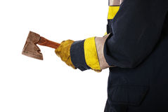 Firefighter holding axe Stock Photos