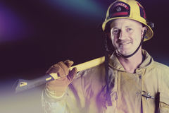 Firefighter Holding Axe Stock Photography