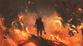 Firefighter holding girl standing in burning buildings. Digital art style, illustration painting Stock Image