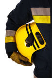 Firefighter holding helmet Royalty Free Stock Photography