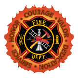 "Firefighter Honor Courage Valor. Fire department or firefighter Maltese cross symbol design with flame border encircled by ""Honor, Courage, Valor, Dedication Stock Images"