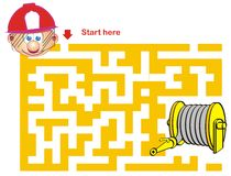Firefighter and Hose. Maze Game: Firefighter and Hose Stock Illustration
