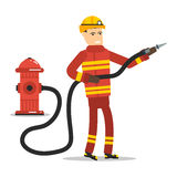 Firefighter with a hose and hydrant. Vector flat character - firefighter with a hose and hydrant Royalty Free Stock Image