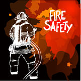 Firefighter with a hose sign. Firefighter with a hose sign  on dark background. Vector Illustration. Great for any fire safety design progects. Vector Royalty Free Stock Image