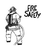 Firefighter with a hose sign. Vector Illustration. Great for any fire safety design. Vector Illustration Royalty Free Stock Photo