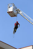 firefighter hung the rope climbing in the fire station royalty free stock photos