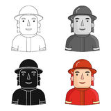 Firefighter icon in cartoon style isolated on white background. People of different profession symbol stock vector Stock Photography
