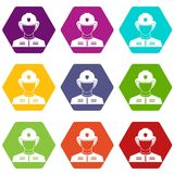 Firefighter icon set color hexahedron Royalty Free Stock Images